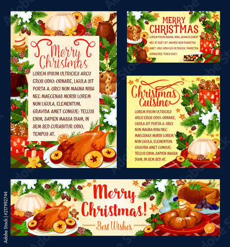Christmas holiday cuisine festive dinner banner - 217992744