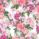 Beautiful watercolor pattern with peony flowers.  - 217995175