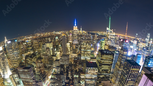 New York City at night, fisheye view