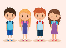 Cute And Little Kids Group Sticker