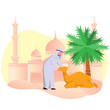 Eid Adha Mubarrak, Arabian Muslim With His Camel in Dessert, Flat Vector Illustration - 218000547
