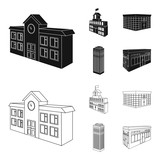 Bank office, skyscraper, city hall building, college building. Architectural and structure set collection icons in black,outline style vector symbol stock illustration web. - 218001503