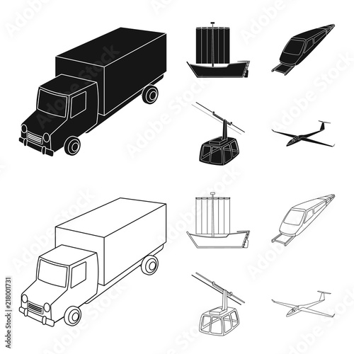 Fridge magnet The truck, the boat, the subway, the funicular modes of transport. Transport set collection icons in black,outline style vector symbol stock illustration web.