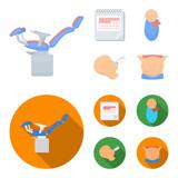 Calendar, newborn, stomach massage, artificial feeding. Pregnancy set collection icons in cartoon,flat style vector symbol stock illustration web.