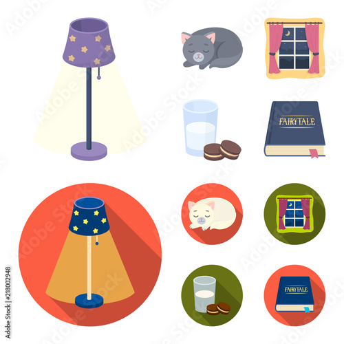 Sleeping cat, night outside the window, milk and biscuits, fairy tales. Rest and sleep set collection icons in cartoon,flat style vector symbol stock illustration web.