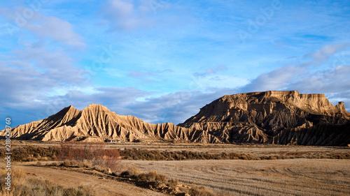 Canvas Blauwe hemel Las Bardenas Reales, Spain