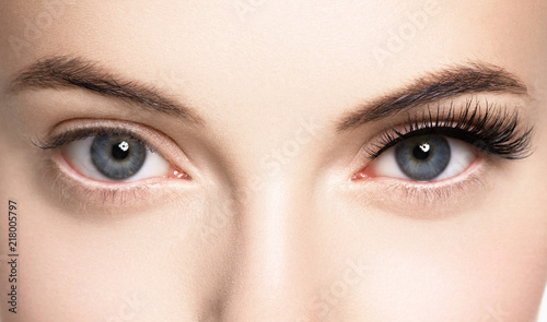 Lashes woman face eyes closeup - 218005797