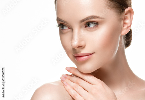 canvas print picture Woman beautifl face closeup with healthy skin and beauty lips and eyes