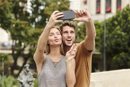 Selfie Couple Posing In City Brazil