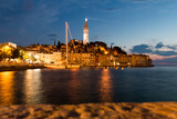 Rovinj, Croatia - July 24, 2018: Night view of the old town of Rovinj, Croatia. - 218008920