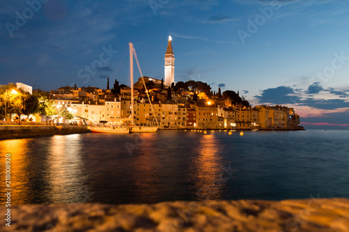 Poster Rovinj, Croatia - July 24, 2018: Night view of the old town of Rovinj, Croatia.