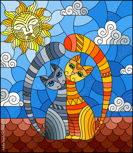 a-couple-of-cats-in-stained-glass-abstract-style-sitting-on-the-roof-against-the-cloudy-sky-and-the-sun