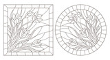A set of contour illustrations of stained glass Windows with Crocuses in frames, dark contours on a white background, round and rectangular image