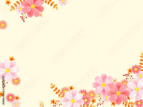 コスモスと秋の花のフレーム