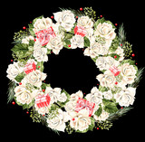 Christmas Wreath with white roses and gifts, watercolor.  - 218012566