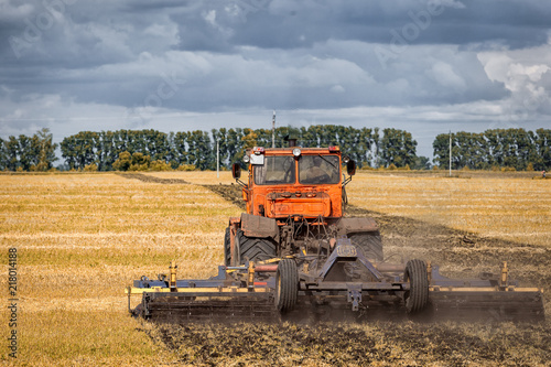 Foto Spatwand Trekker An orange modern tractor plows the earth in.  a golden field of wheat on a summer day, in the sky a cumulus cloud, in the background a forest.