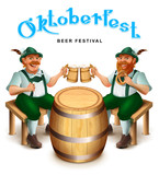 Two man in traditional german clothes sit and drink beer. Oktoberfest beer festival greeting card text - 218023595