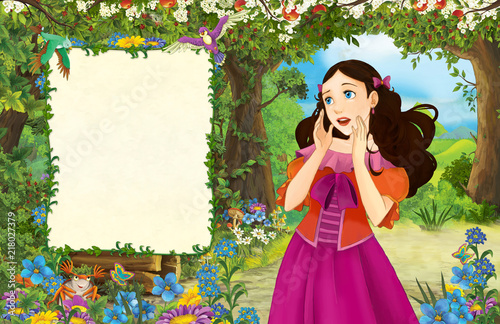 cartoon scene with princess in the forest - title page with space for text - illustration for children - 218027379