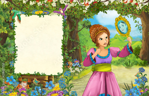 cartoon scene with princess in the forest - title page with space for text - illustration for children - 218027550
