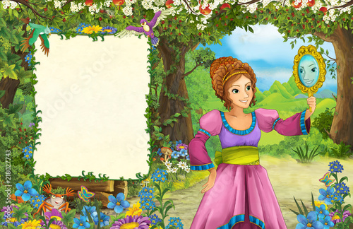 cartoon scene with princess in the forest - title page with space for text - illustration for children - 218027743