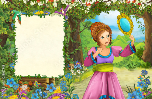 cartoon scene with princess in the forest - title page with space for text - illustration for children - 218027948