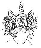 Vector cute  unicorn  in wreath,  black silhouette  isolated on white for coloring.