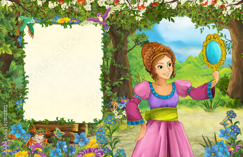 cartoon scene with princess in the forest - title page with space for text - illustration for children - 218028113