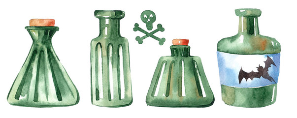 watercolor image of a bottle with poison. Halloween. label with skull and bones © Anastasiia