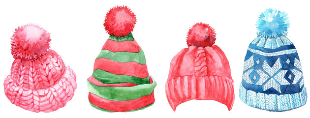 Watercolor winter hats set, isolated on white background. © Anastasiia