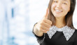 Quadro portrait of attractive smile teenage girl show thumbs up gesture