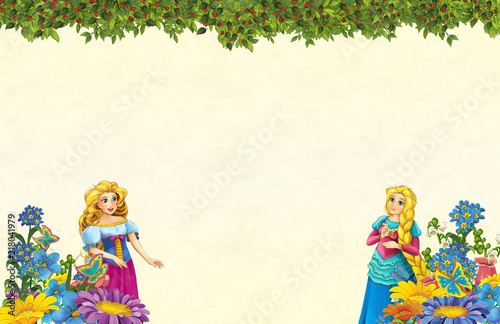 cartoon scene with floral frame - beautiful girls - princesses - title page with space for text -  illustration for children - 218041979