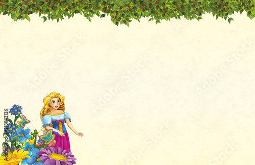 cartoon scene with floral frame - beautiful girl - princess- title page with space for text -  illustration for children - 218042126