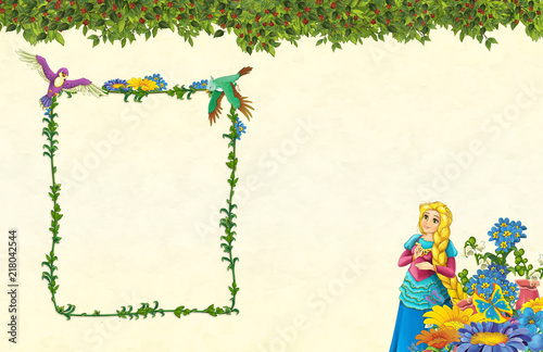 cartoon scene with floral frame - beautiful girl - princess- title page with space for text -  illustration for children - 218042544