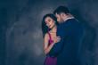 Leinwanddruck Bild - Portrait of tempting brunette lady with close eyes enjoying gent