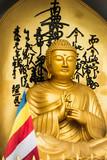 Golden Buddha statue and buddhist flag - 218045766