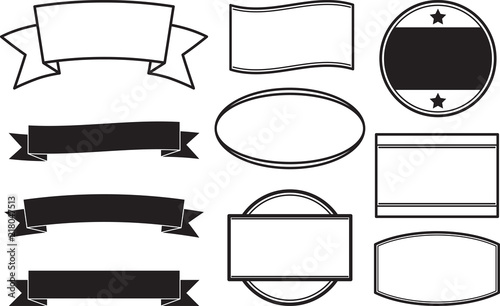 big set of black solid style templates for round rubber stamps and