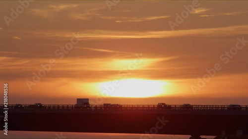 Fototapeta Killer Sunset View of Great Belt Bridge