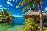 Over water bungalows and green lagoon, Moorea, French Polynesia