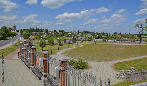 Foto Murales View of the village of Mir from Mir Castle. The Grodno region. Belarus