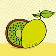 fresh kiwi and lemon on dotted background vector illustration