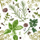 Seamless pattern with herbs and spices - 218050918