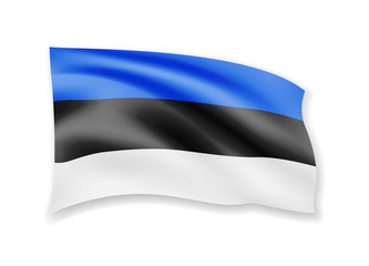 Waving Estonia Flag on white. Flag in the Wind.