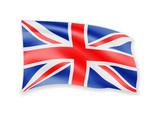 Waving United Kingdom flag on white. Flag in the wind. - 218055529