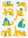 Stickers set with funny cats. Collection with domestic pets in incomlete cute childrens style.