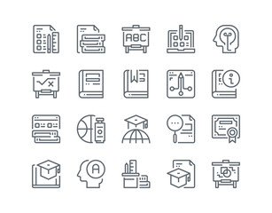 Simple line icon set of Education and learning for website mobile app and more .Editable Stroke.