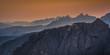 Quadro Bergsilhouetten- Layer in der Abendstimmung - Dolomiten