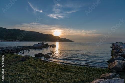 Canvas Zee zonsondergang spiaggia a Pesaro