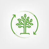 Reforestation symbol. Tree in circular arrow vector illustration