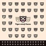 Line tiger emoji faces