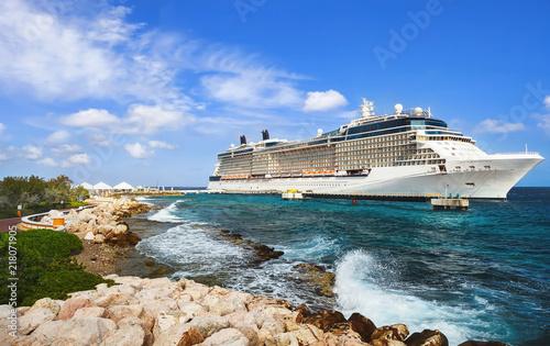 Fototapeta Cruise ship in port on sunny day